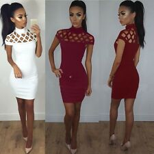 Women Fashion Sexy Slim Stand Collar Hollow Solid Bodycon Party Club Short Dress
