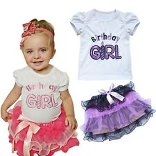 1st Birthday Outfit Toddler Baby Girls Top T-shirt+Tutu Skirt Flower Party Dress