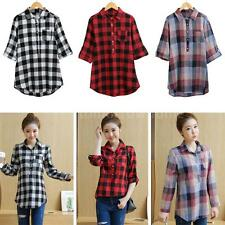 Women Plus Size Shirt Plaid High-Low Hem Turn-Down Collar Casual Blouse Top T9T8