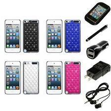For iPod Touch 5th 6th Gen Executive Hard Case Diamonds Phone Cover Headphones