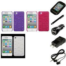 For Apple iPhone 4/4S Diamond Bling Rhinestone Case Phone Cover Headphones