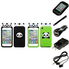 For Apple iPod Touch 4th Gen Silicone Design Skin Soft Phone Case Headphones