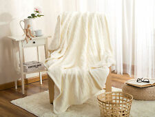 Plush Throw Blankets Cozy Cable Knit Throw Sherpa Lining Double layered Soft