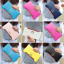 Womens Girls PU Leather Wallet Card Holder Zip Money Purse Clutch Handbag Long