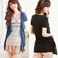 Trendy Letters Print Faux Twinset Women's Short Sleeve Tee T-shirts Long Tops