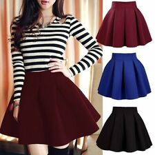 Sexy Mini Short High Waist Skater Skirt Jersey Plain Flared Pleated A-Line DreXD