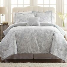NEW Twin Full Queen King Bed Gray Grey White Floral 8 pc Comforter Sheet Set NWT