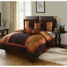 NEW Full Queen Cal King Bed Brown Rust Orange Floral Stripe 7 pc Comforter Set