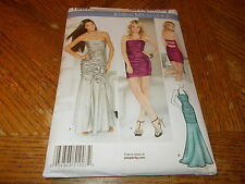 Simplicity Pattern 1907 Ms JESSICA MCCLINTOCK Ruched Strapless Dress 2 Lengths