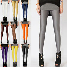 Women Candy Shiny Leggings Bright Fluorescent Glow Stretch Skinny Pants Jeggings