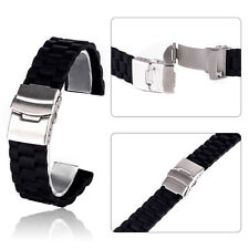 Black Silicone Rubber Watch Strap Band Deployment Buckle Waterproof 20mm 22mm