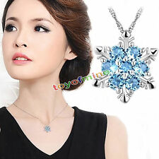 925 Sterling Silver Frozen Princess Swarovski Crystal Necklace Snowflake SP