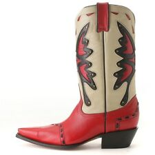 Jever Waxy Camel & Red Butterfly Inlay Western Leather Boots 9.5