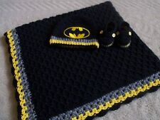 Knit/Crochet Personalized Baby Batman Blanket, Hat and Booties (33x33)