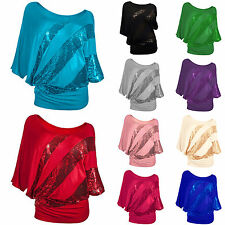 Ladies Womens Oversized Baggy Sequins T Shirt Batwing Sleeve Loose Tops Blouse
