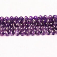 "Round Natural Amethyst Making Loose Gemstone Beads Stone Strand 15"" Jewelry"