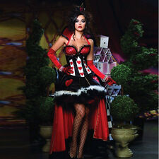 Ladies Queen of Hearts Cosplay Alice in Wonderland Fancy Dress Costume Fairytale