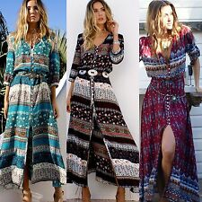 Summer Beach Bohemian Long Chiffon Satin Casual Vintage Floral Maxi Long Dress