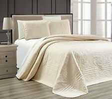 NEW Twin XL Full Queen Cal King Size Bed Ivory 3 pc Coverlet Quilt Bedspread Set