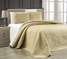 NEW Twin XL Full Queen Cal King Size Bed Taupe 3 pc Coverlet Quilt Bedspread Set
