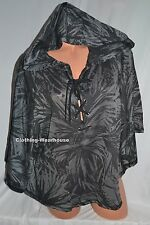 Victoria's Secret Hooded Poncho Cover Lace Up Hoodie Black White Palm Tropical M