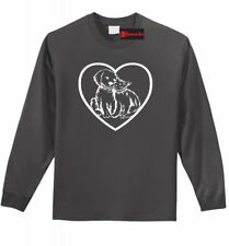 Dog Cat Heart Graphic L/S T Shirt Animal Lover Vet Gift Puppy Kitten Cat Tee Z1