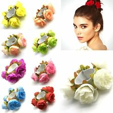 Women Rosebud Flower Hair Bun Garland Scrunchie Elastic Dance Bridal Hair Band