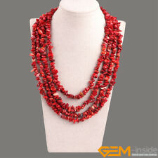 Handmade Multi-Strands Chips Cluster Statement Beaded Long Necklace 17-20 Inches