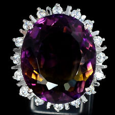 13.95 CT MULTI COLOR AMETRINE OVAL FACET SILVER 925 COCKTAIL RING SIZE 6.75