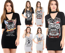 WOMENS LADIES ROCK N ROLL PRINT CHOKER V NECK T SHIRT MINI DRESS PLUS SIZE 8-24