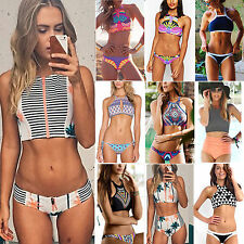 BOHO Womens 2PCS Halter Neck Push Up Padded Bra Bikini Swimwear Swimsuit Tankini