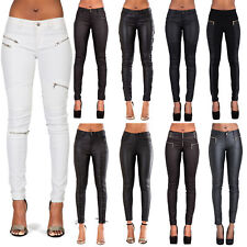 WOMENS LEATHER TROUSERS BLACK WET LOOK LEGGINGS LADIES JEANS SLIM FIT SIZE 8-14