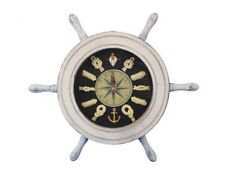 """Handcrafted Nautical Decor 12"""" Ship Wheel with Knot Face Clock"""