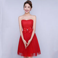 Women Strapless Gown Wedding Bridesmaid Formal Bows Lace Flower Short Mini Dress