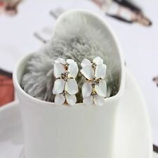 Flower Ear Buckle Lovely Crystal Gardenia Flower Ear Stud Earrings With Buckle
