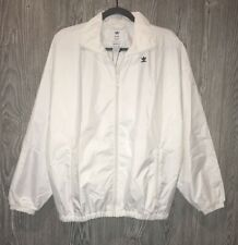 NEW Womens Sz S ADIDAS ORIGINALS Hyke White Oversized Windbreaker F/Z Jacket