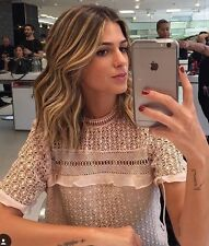 ZARA 2016 NUDE LACE TOP WITH FRILL AND HIGH NECK SIZE M 10 UK BOGGERS FAVE LASTS
