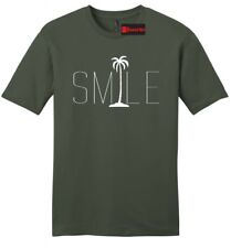 Smile Graphic Tee Palm Tree  Mens Soft T Shirt Beach Bum Happy Ocean Tee Z2