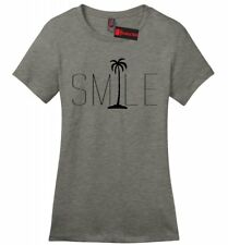 Smile Graphic Tee Palm Tree Ladies Soft T Shirt Beach Bum Happy Ocean Graphic Z4