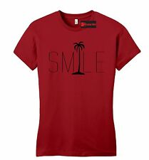Smile Graphic Tee Palm Tree Juniors T Shirt Beach Bum Happy Ocean Graphic Fitted