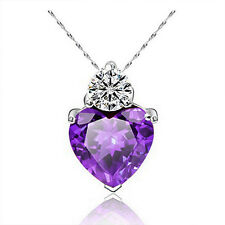 Charm Jewelry Gift Silver Plated Women Love Heart Crystal Pendant Necklace