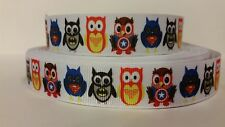"Grosgrain Ribbon, Super Hero Owls, Batman, Superman, Captain America, 7/8"" Wide"