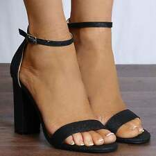 BARELY THERE STRAPPY SANDALS PEEP TOES BLOCK HEEL HIGH HEELS SHOES SIZE