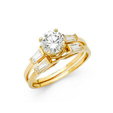 14k Yellow Gold Diamond Solitaire Engagement Ring Set Baguette Wedding Band
