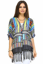 Marcelle Margaux Multi Color Tassel Detail Kimono Top