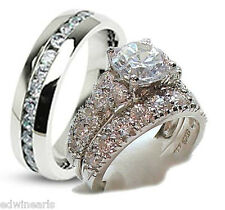 3 Pieces His & Hers Sterling Silver & Stainless  Wedding Engagement Ring Set