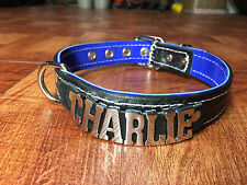 """Custom Leather Dog collar 1"""" wide any name/word choose colors Charlie Bailey Max"""