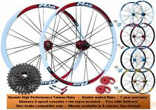 "26"" MTB Mountain Bike QR Disc Hubs Wheels Wheelset + 9 Speed Shimano Cassette"