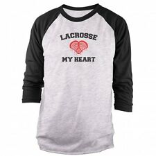 Lacrosse My Heart - Distressed 3/4 Sleeve Raglan T-shirt