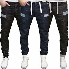 Enzo Mens Designer Branded Regular Fit Panel Detail Cuffed Jogger Jeans, BNWT